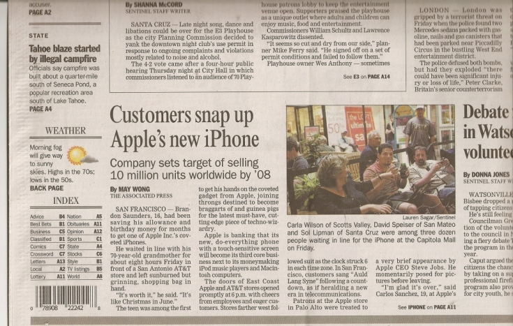 Front Page of The Santa Cruz Sentinel (bottom half)